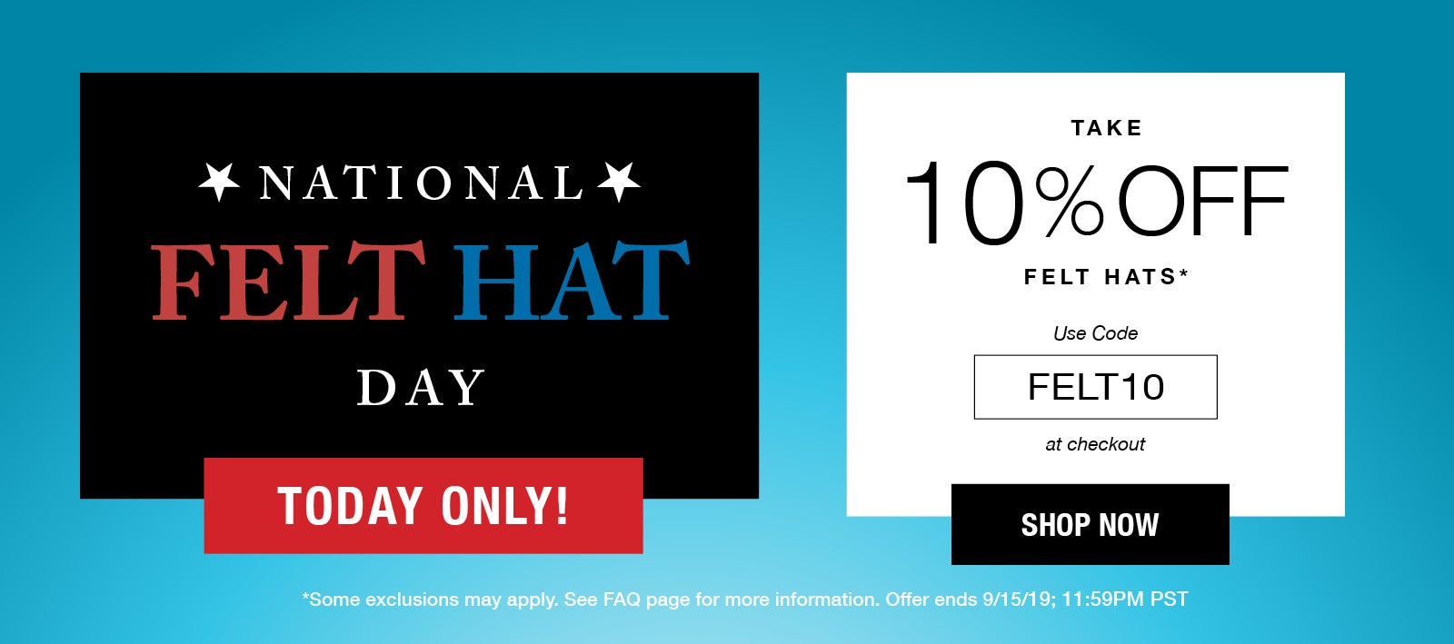 10% Off Felt Hats